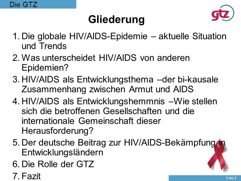 Gliederung Die globale HIV/AIDS-Epidemie – aktuelle Situation und Trends. Was unterscheidet HIV/AIDS von anderen Epidemien