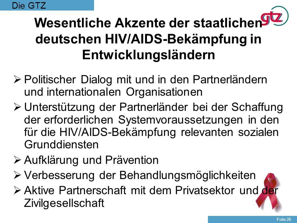 Wesentliche Akzente der staatlichen deutschen HIV/AIDS-Bekämpfung in Entwicklungsländern