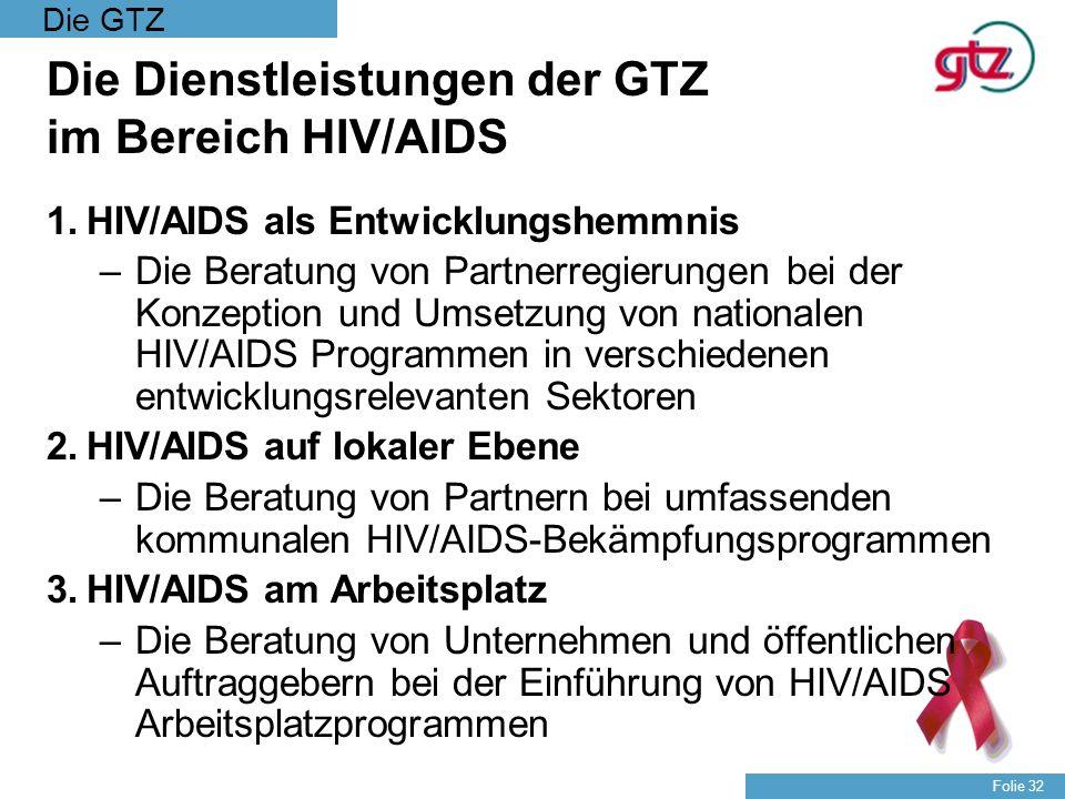 Die Dienstleistungen der GTZ im Bereich HIV/AIDS