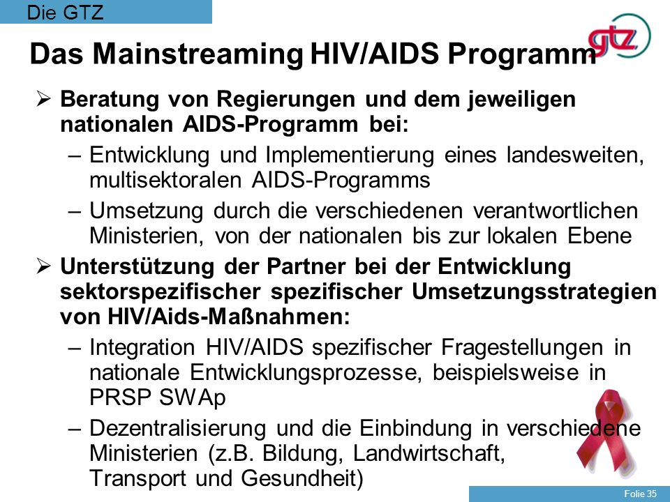 Das Mainstreaming HIV/AIDS Programm