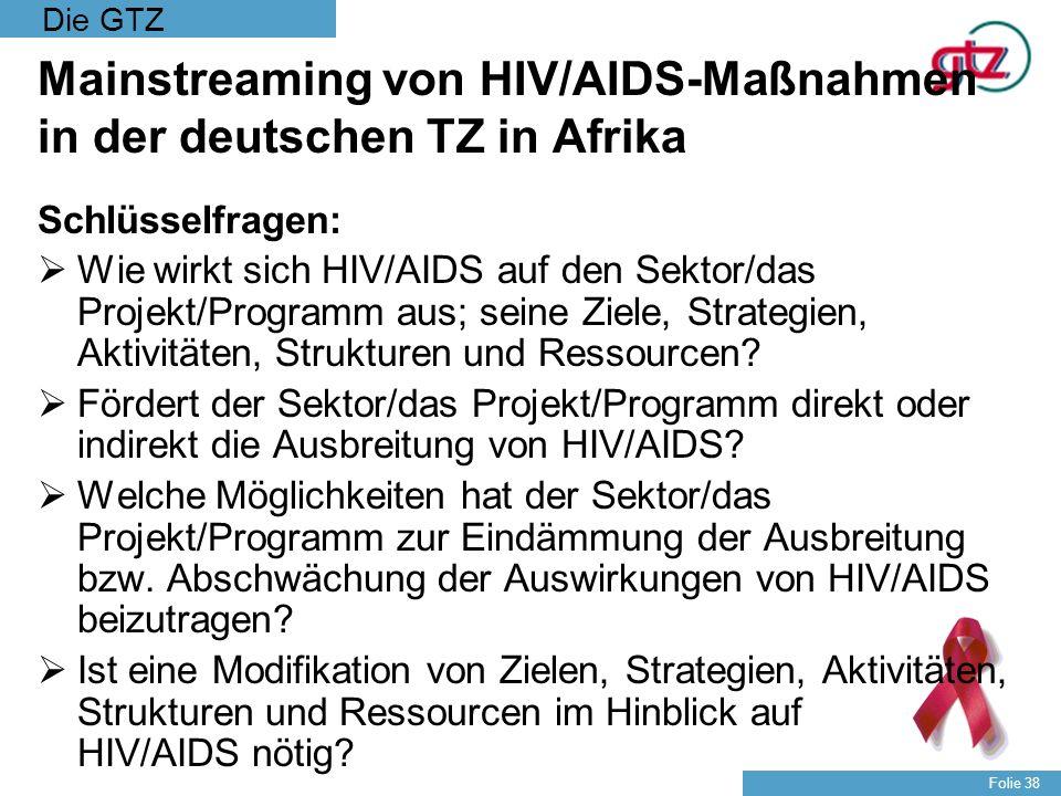 Mainstreaming von HIV/AIDS-Maßnahmen in der deutschen TZ in Afrika