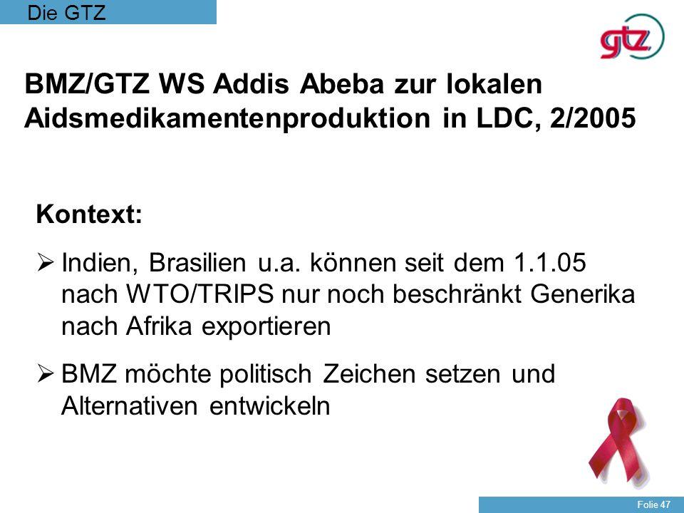 BMZ/GTZ WS Addis Abeba zur lokalen Aidsmedikamentenproduktion in LDC, 2/2005