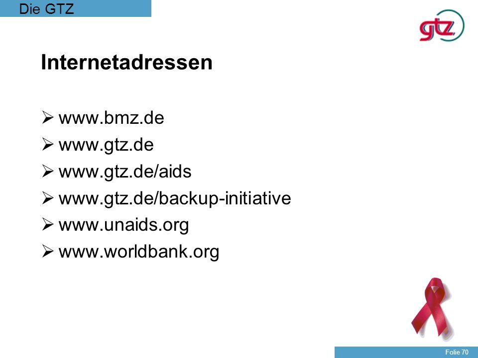 Internetadressen www.bmz.de www.gtz.de www.gtz.de/aids