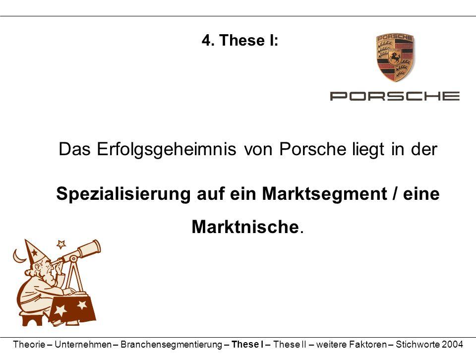 4. These I: Das Erfolgsgeheimnis von Porsche liegt in der Spezialisierung auf ein Marktsegment / eine.