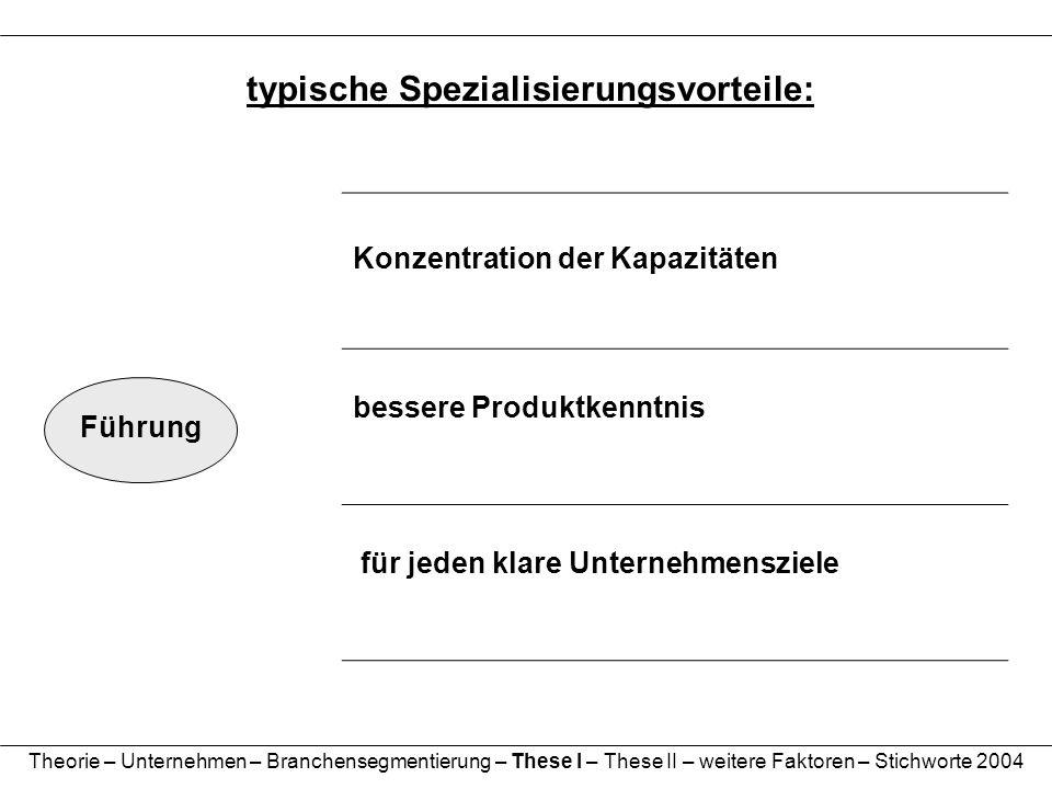 typische Spezialisierungsvorteile:
