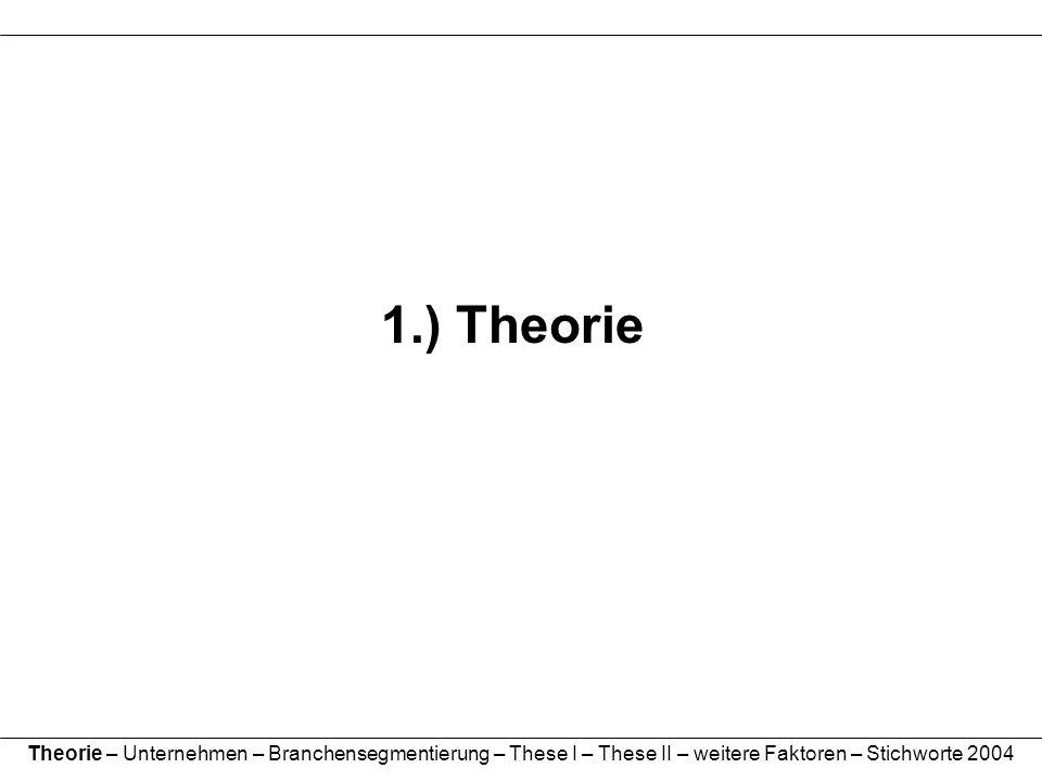 1.) Theorie Theorie – Unternehmen – Branchensegmentierung – These I – These II – weitere Faktoren – Stichworte 2004.