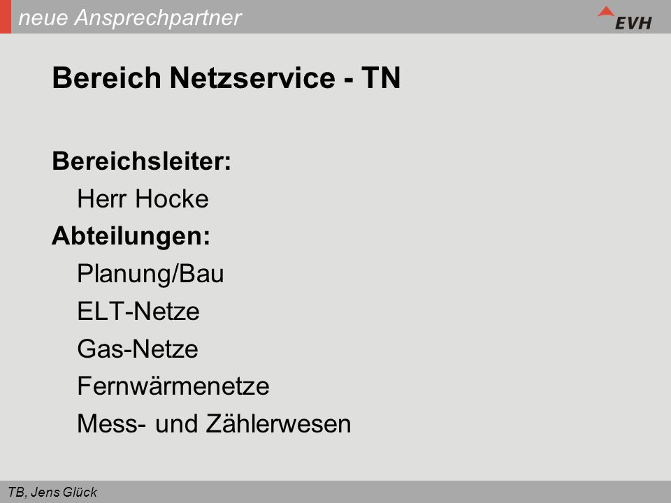 Bereich Netzservice - TN