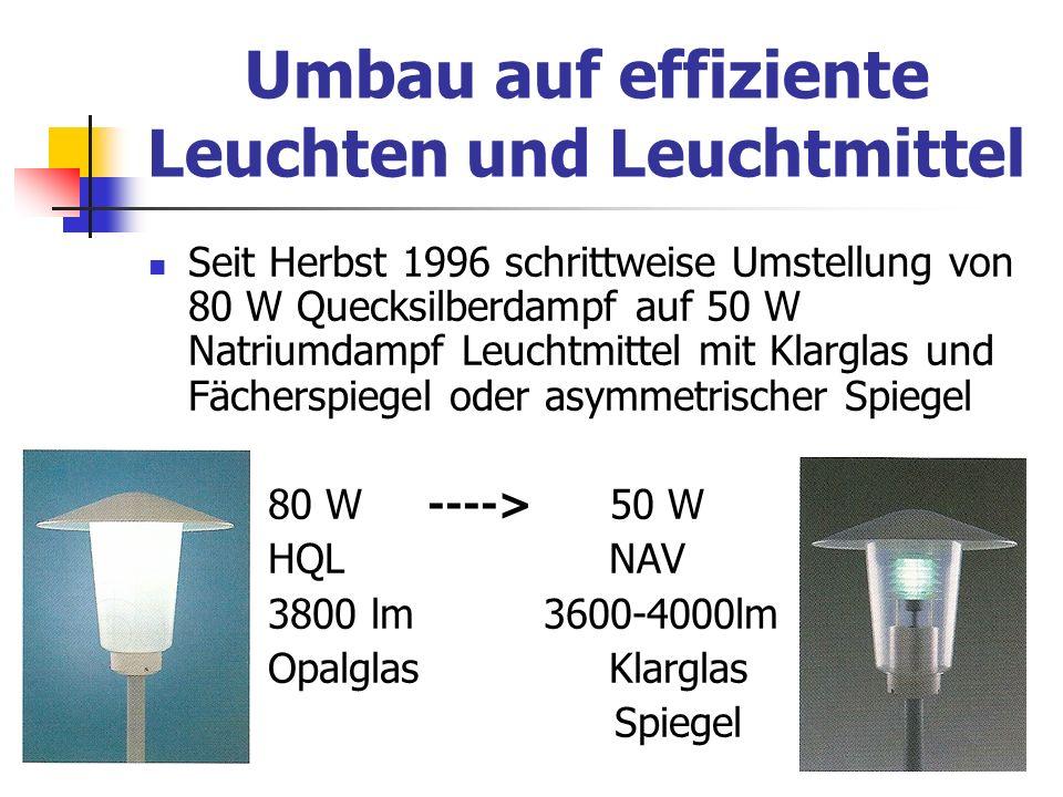 Umbau auf effiziente Leuchten und Leuchtmittel
