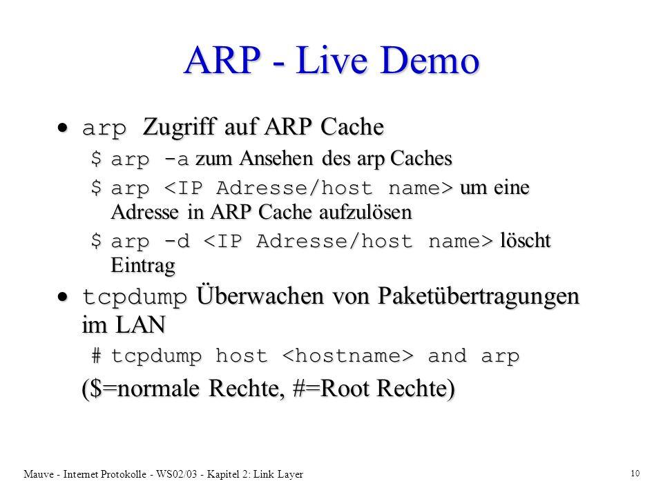 ARP - Live Demo arp Zugriff auf ARP Cache