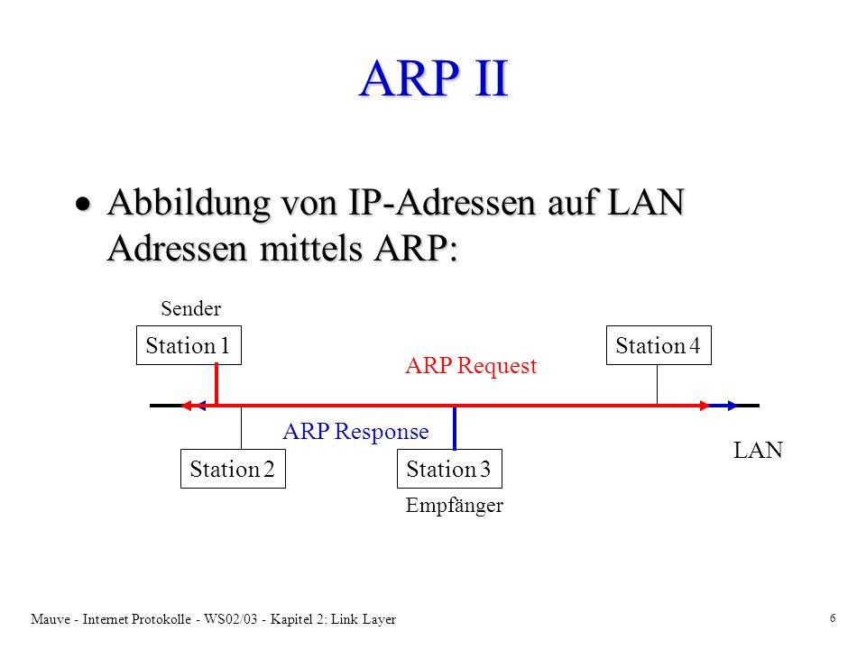ARP II Abbildung von IP-Adressen auf LAN Adressen mittels ARP: