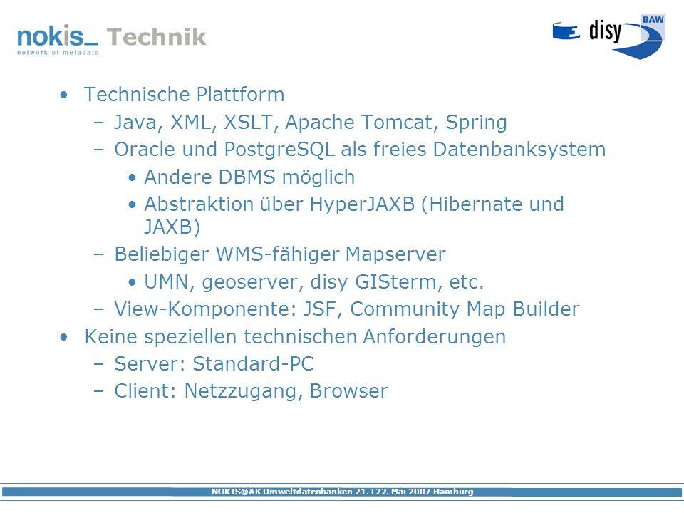 Technik Technische Plattform Java, XML, XSLT, Apache Tomcat, Spring