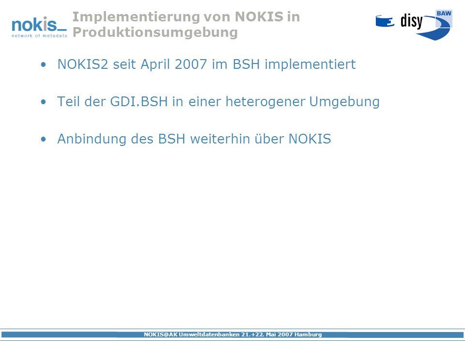 Implementierung von NOKIS in Produktionsumgebung