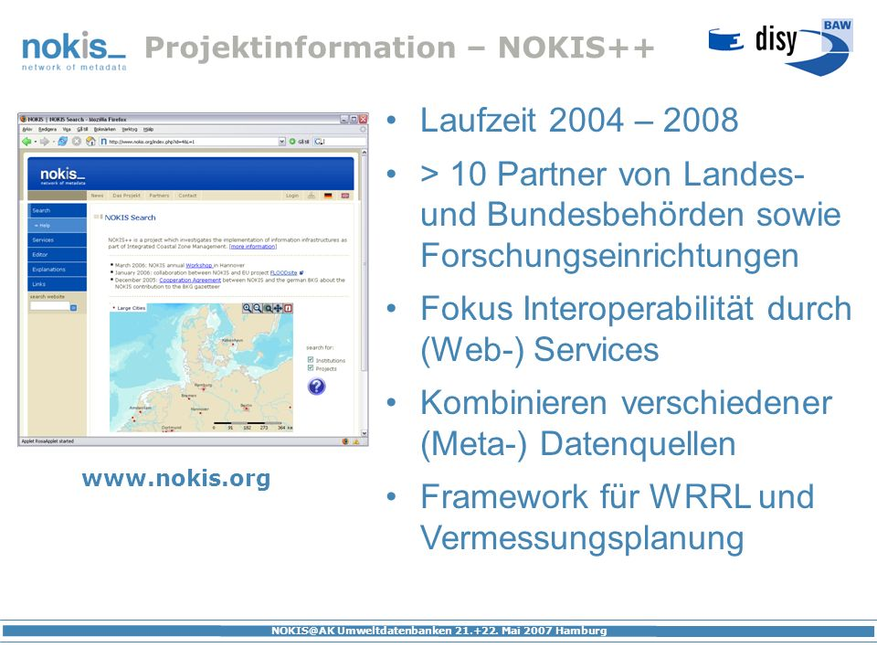 Projektinformation – NOKIS++