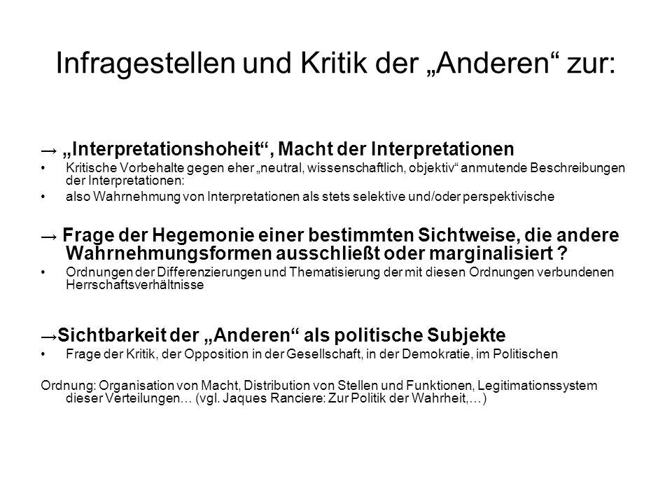 """Infragestellen und Kritik der """"Anderen zur:"""