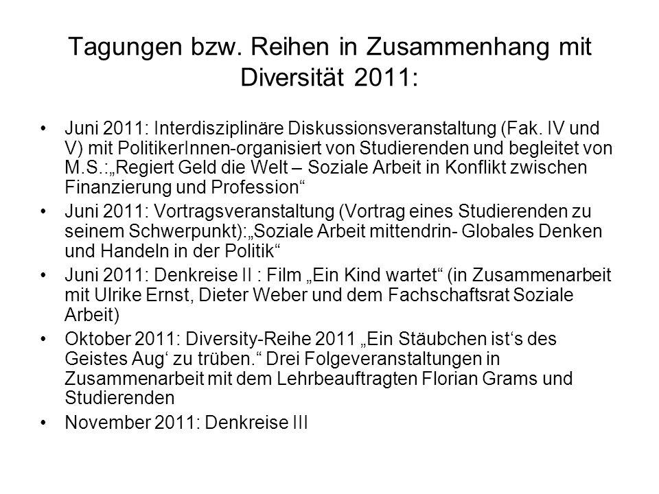 Tagungen bzw. Reihen in Zusammenhang mit Diversität 2011: