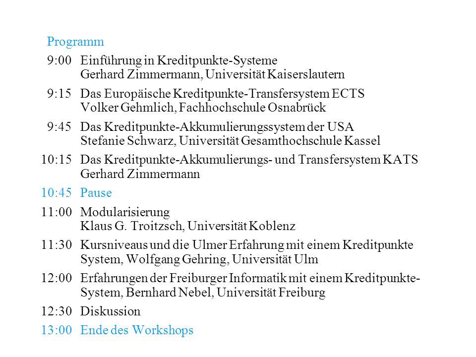Programm9:00 Einführung in Kreditpunkte-Systeme Gerhard Zimmermann, Universität Kaiserslautern.