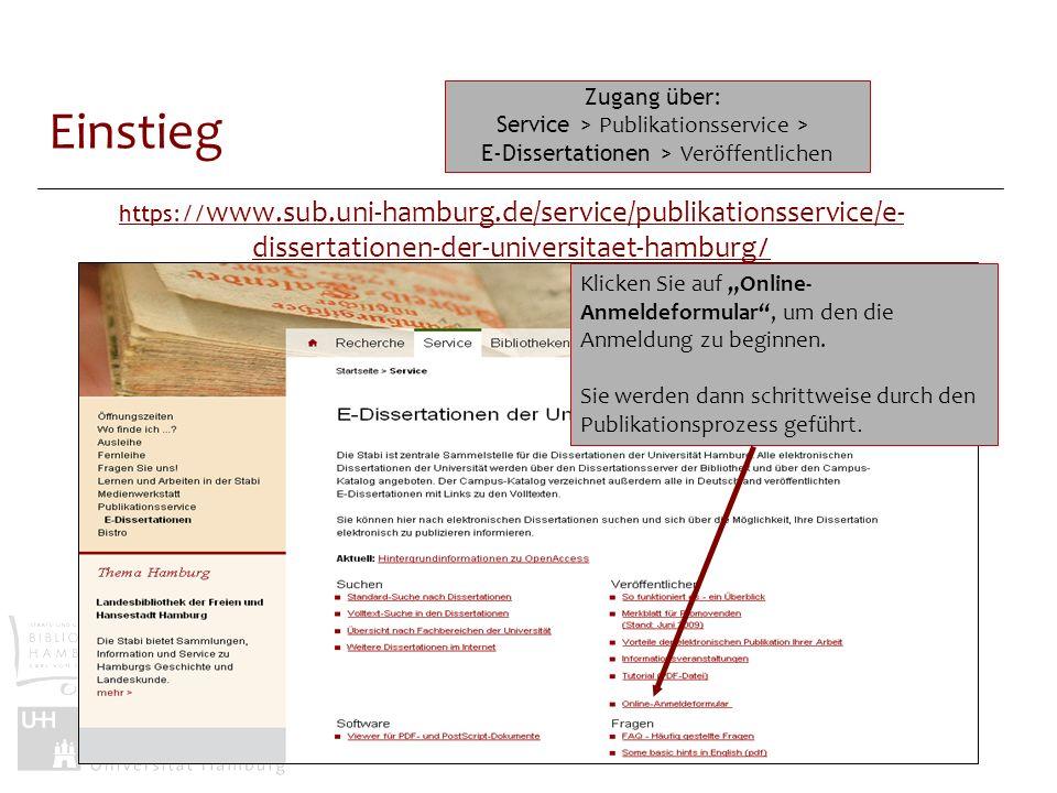 Einstieg Zugang über: Service > Publikationsservice >