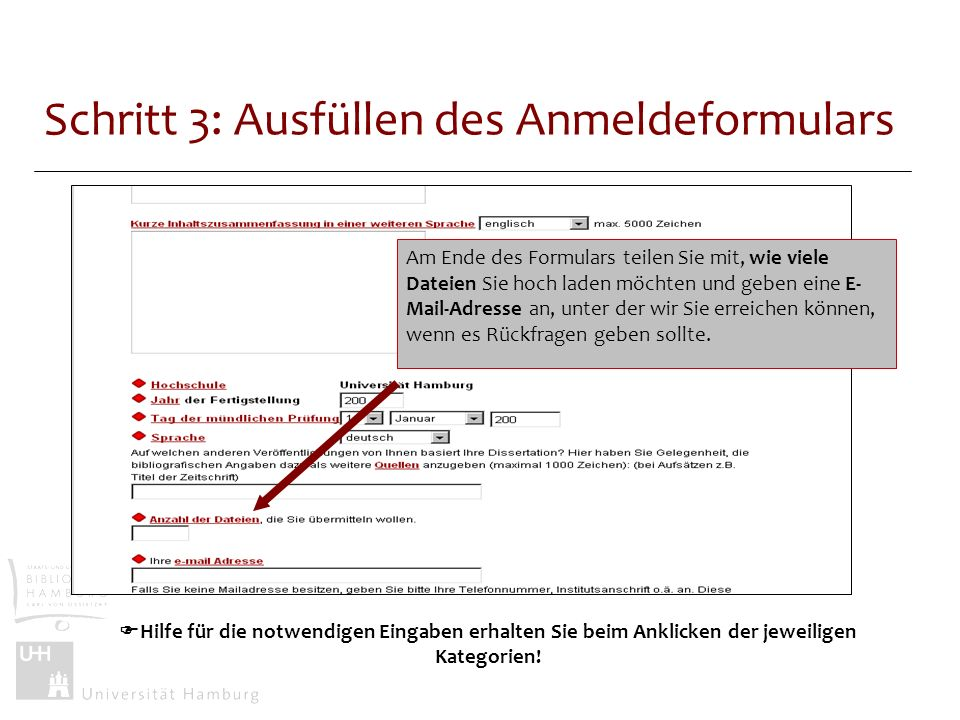 Schritt 3: Ausfüllen des Anmeldeformulars
