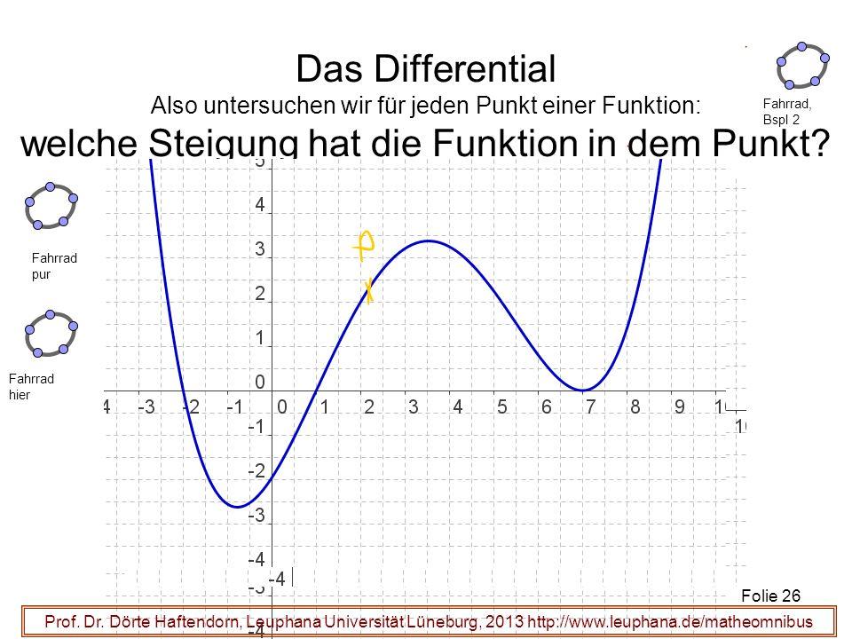 Das Differential Also untersuchen wir für jeden Punkt einer Funktion: welche Steigung hat die Funktion in dem Punkt