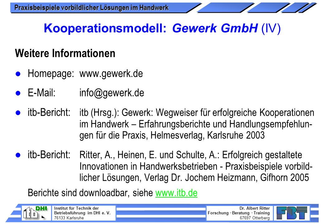 Kooperationsmodell: Gewerk GmbH (IV)