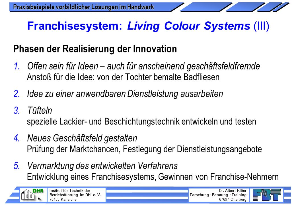 Franchisesystem: Living Colour Systems (III)