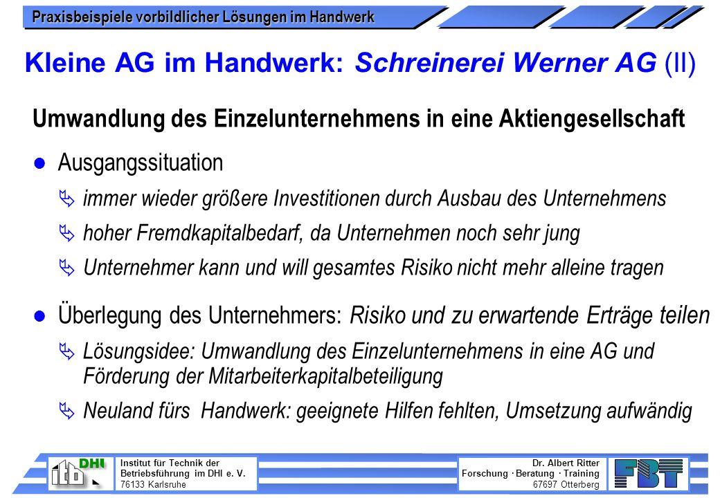 Kleine AG im Handwerk: Schreinerei Werner AG (II)