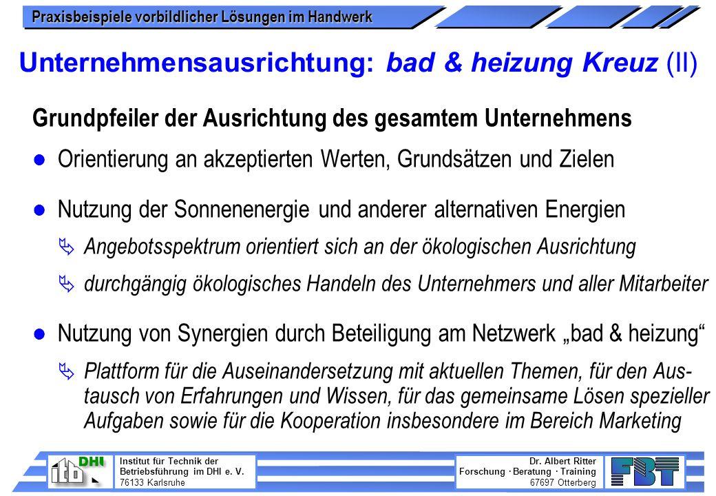 Unternehmensausrichtung: bad & heizung Kreuz (II)
