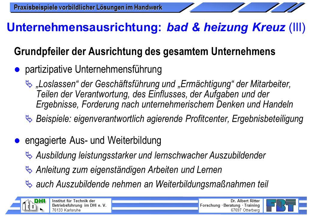 Unternehmensausrichtung: bad & heizung Kreuz (III)