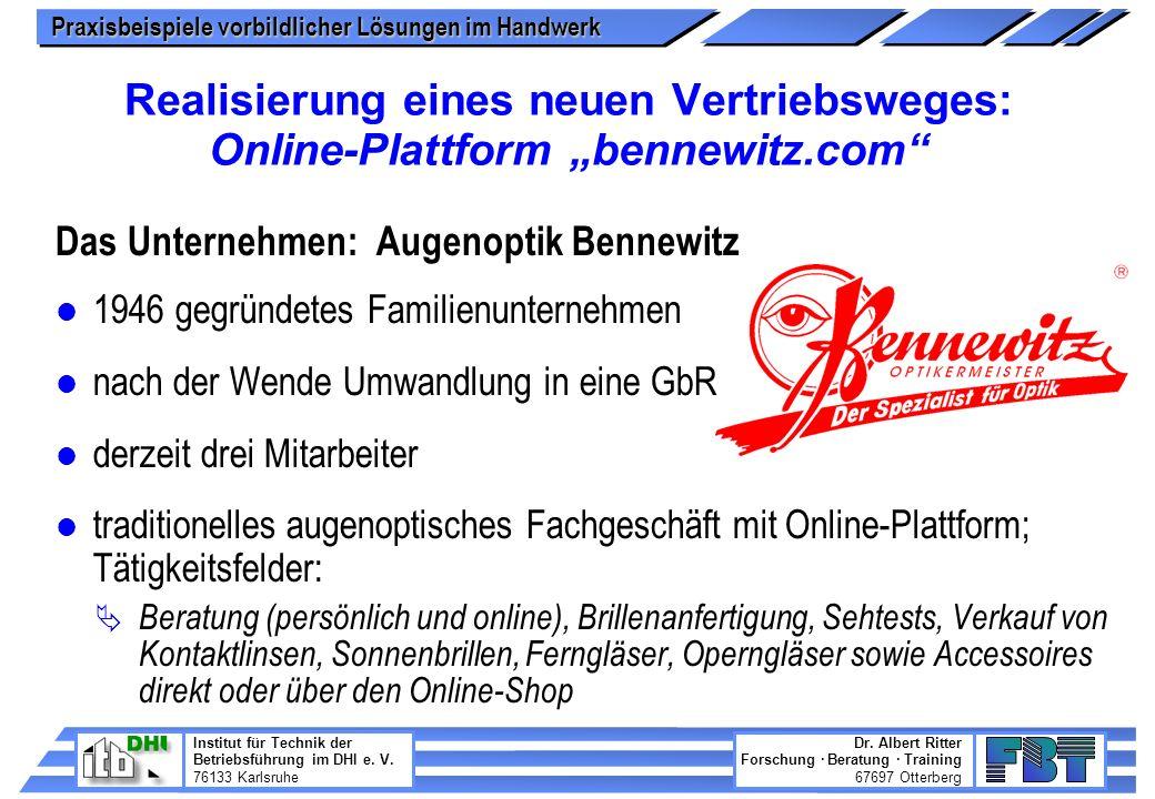"""Realisierung eines neuen Vertriebsweges: Online-Plattform """"bennewitz"""