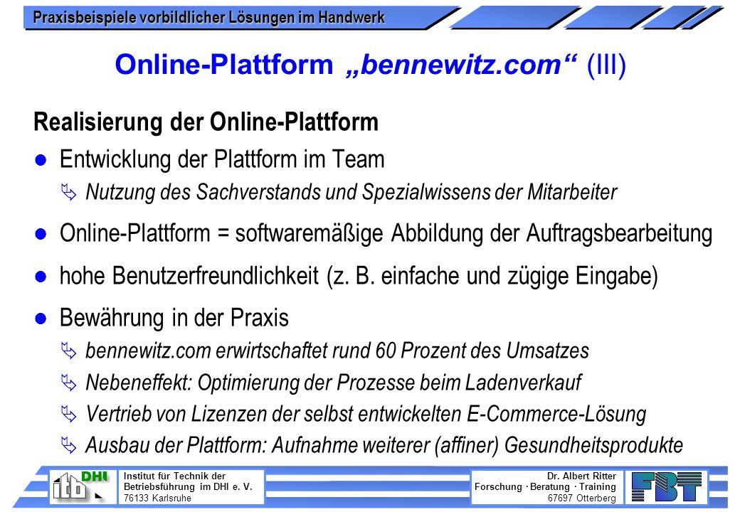 "Online-Plattform ""bennewitz.com (III)"