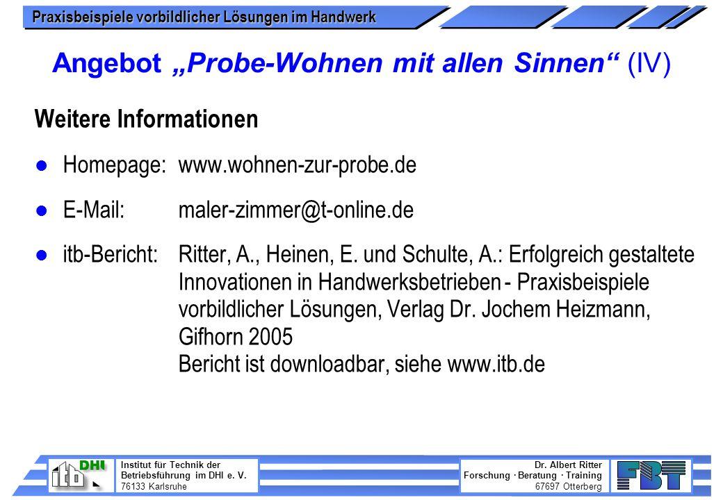 """Angebot """"Probe-Wohnen mit allen Sinnen (IV)"""