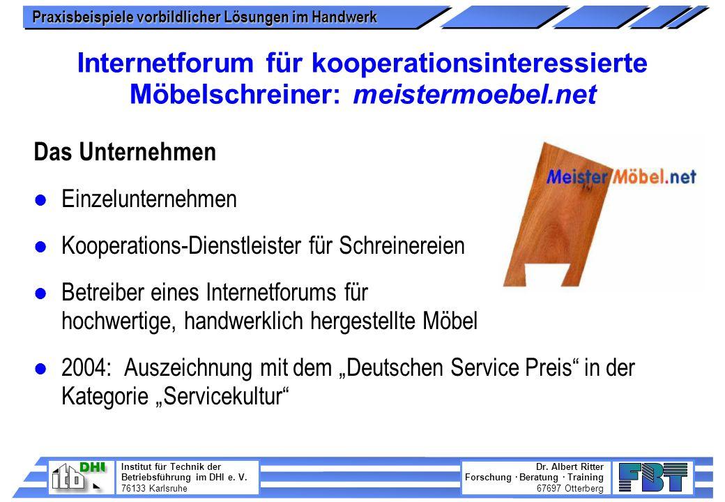 Internetforum für kooperationsinteressierte Möbelschreiner: meistermoebel.net