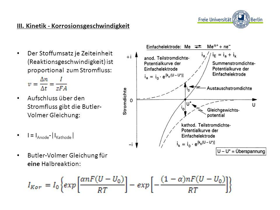 III. Kinetik - Korrosionsgeschwindigkeit
