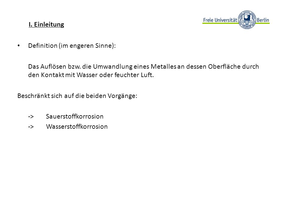I. EinleitungDefinition (im engeren Sinne):