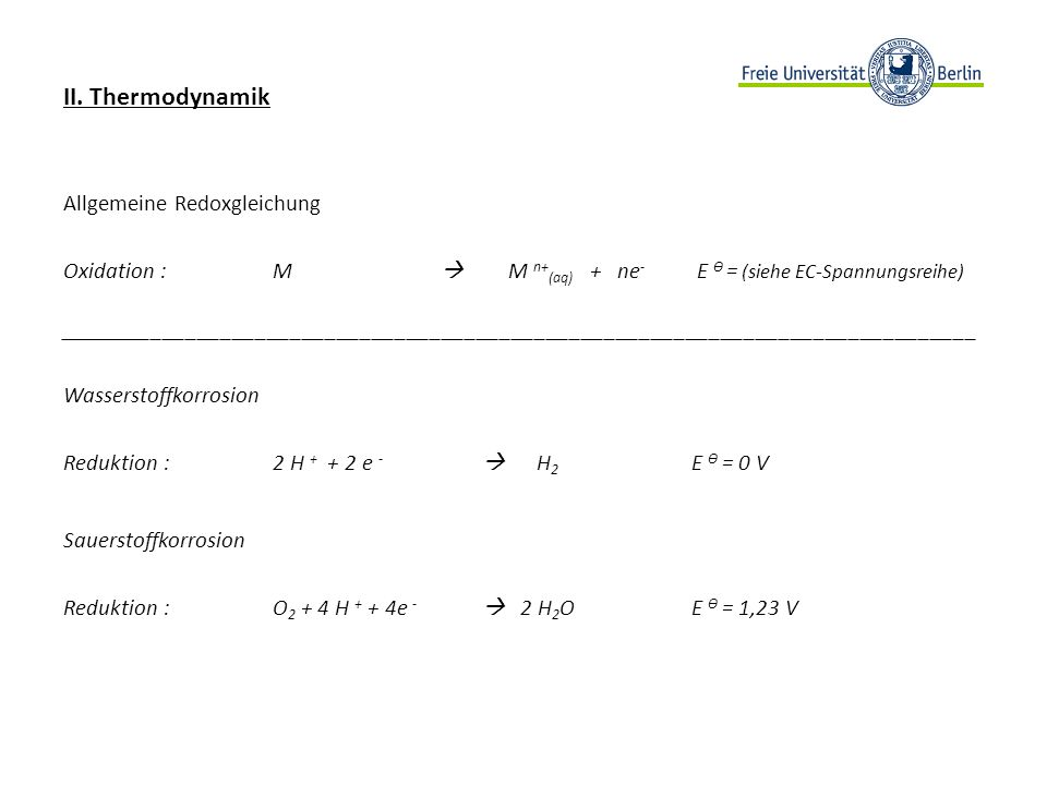 II. Thermodynamik Allgemeine Redoxgleichung