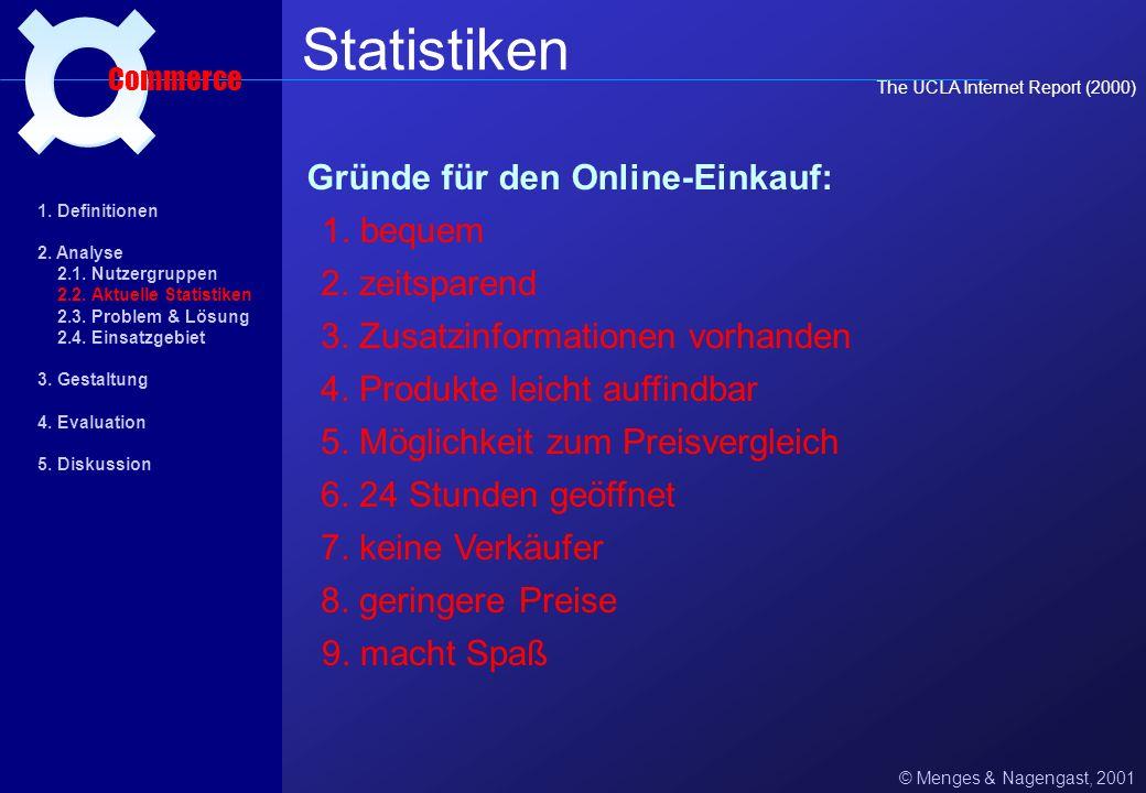 Statistiken ¤ Gründe für den Online-Einkauf: 1. bequem 2. zeitsparend