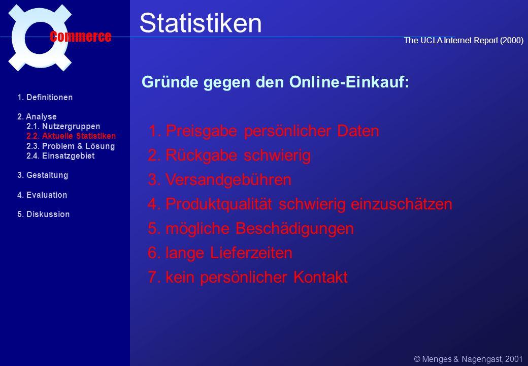 Statistiken ¤ Gründe gegen den Online-Einkauf:
