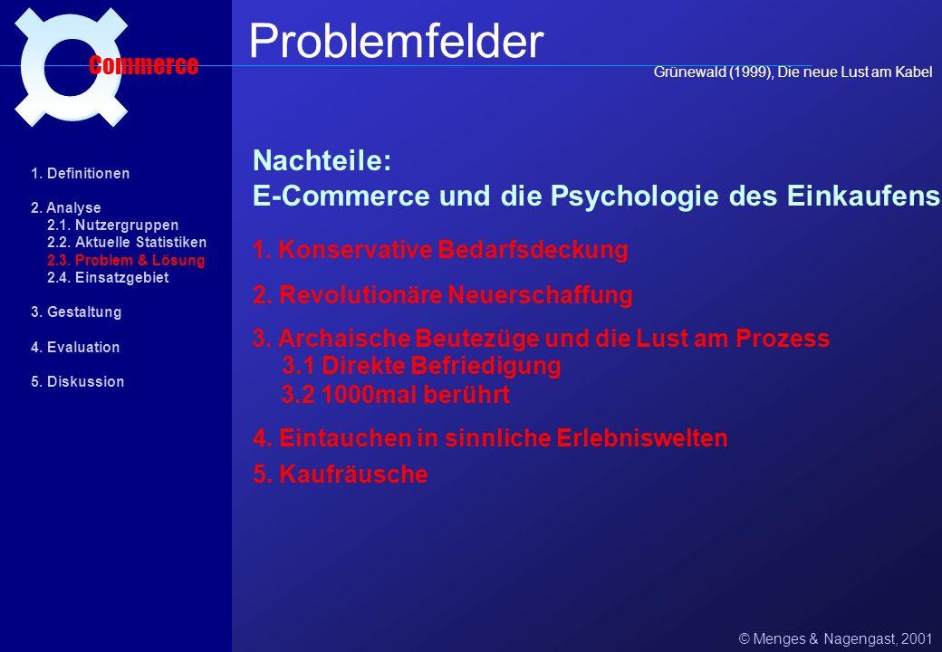 ¤ Problemfelder. Commerce. Grünewald (1999), Die neue Lust am Kabel. Nachteile: E-Commerce und die Psychologie des Einkaufens.