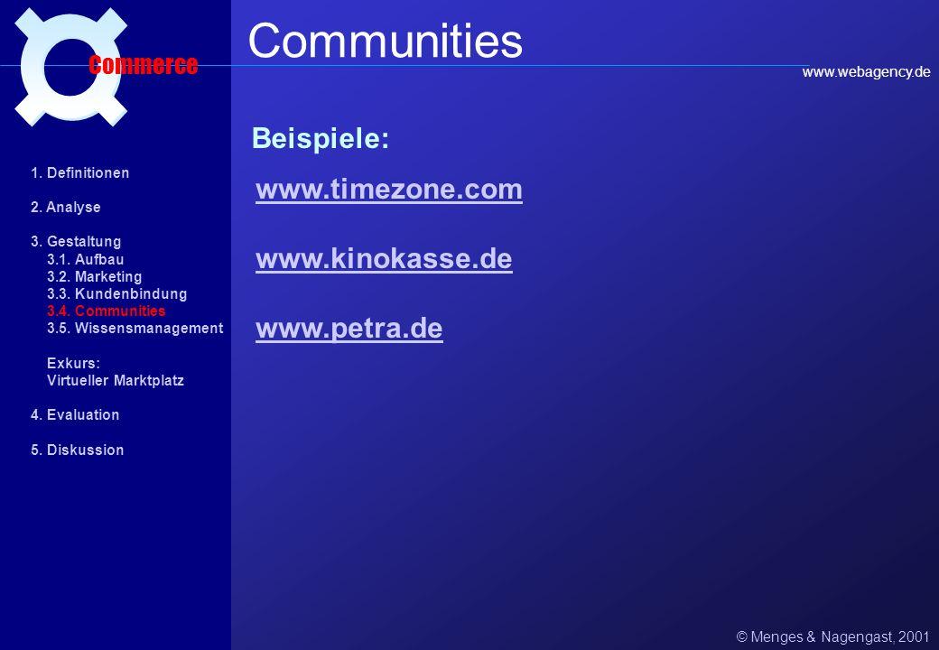 Communities ¤ Beispiele: www.timezone.com www.kinokasse.de