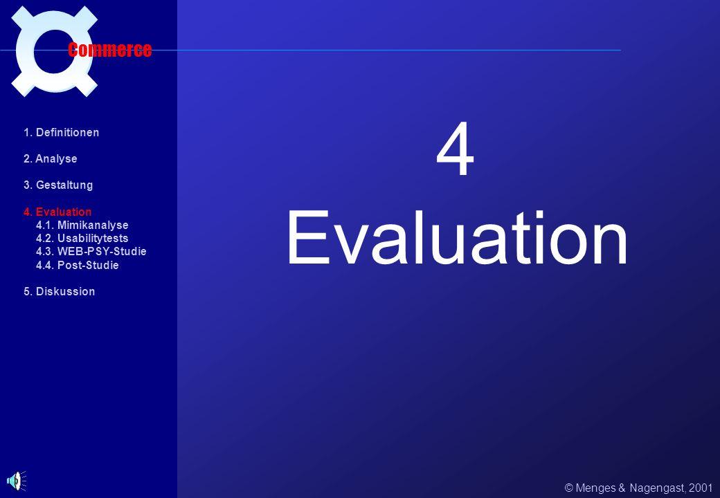 4 Evaluation ¤ Commerce 1. Definitionen 2. Analyse 3. Gestaltung