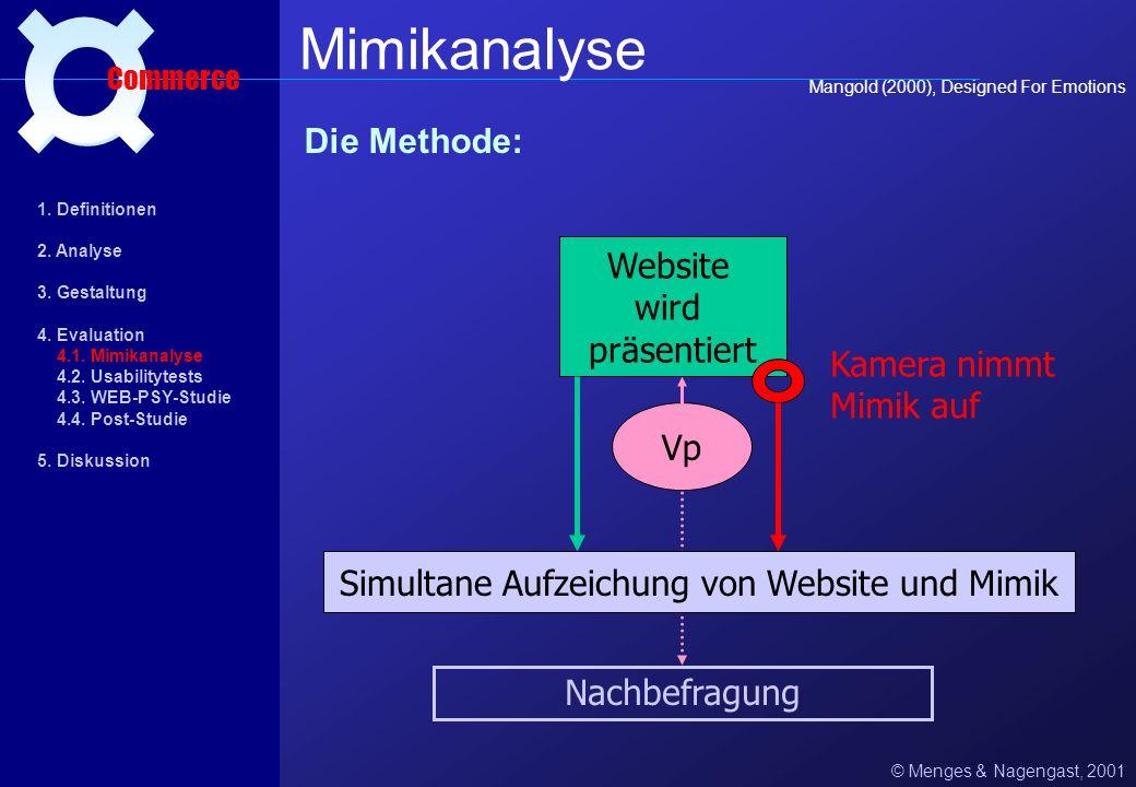 Simultane Aufzeichung von Website und Mimik