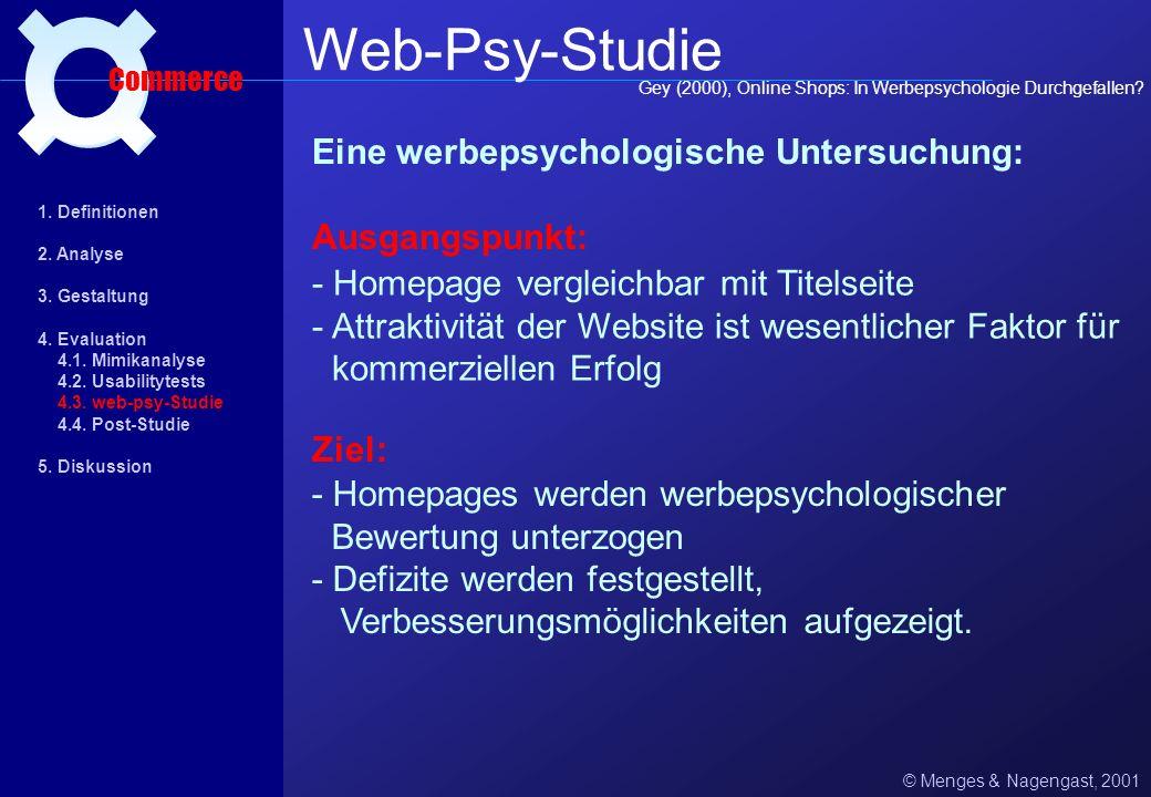 Web-Psy-Studie ¤ Eine werbepsychologische Untersuchung: Ausgangspunkt:
