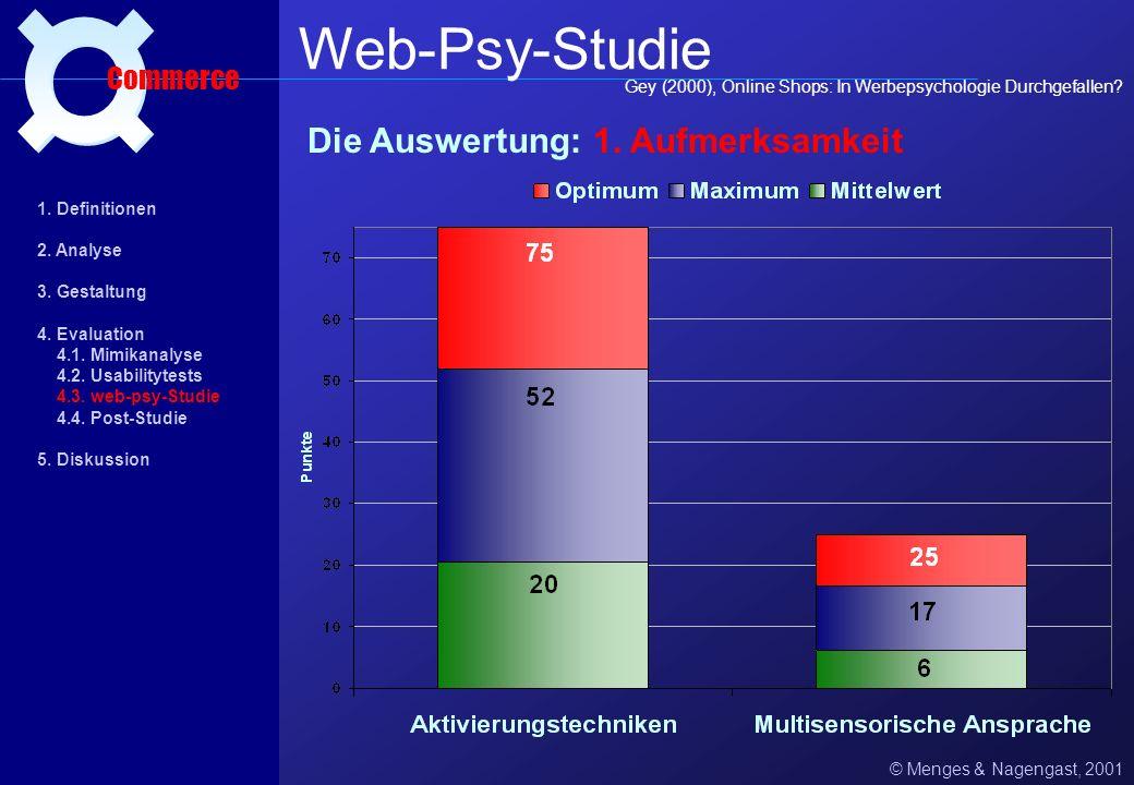 Web-Psy-Studie ¤ Die Auswertung: 1. Aufmerksamkeit Commerce