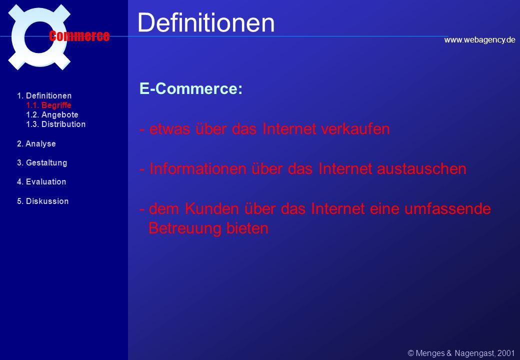 Definitionen ¤ E-Commerce: etwas über das Internet verkaufen