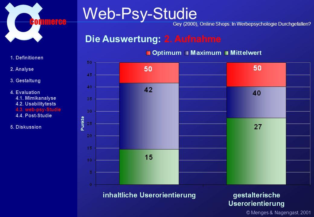 Web-Psy-Studie ¤ Die Auswertung: 2. Aufnahme Commerce