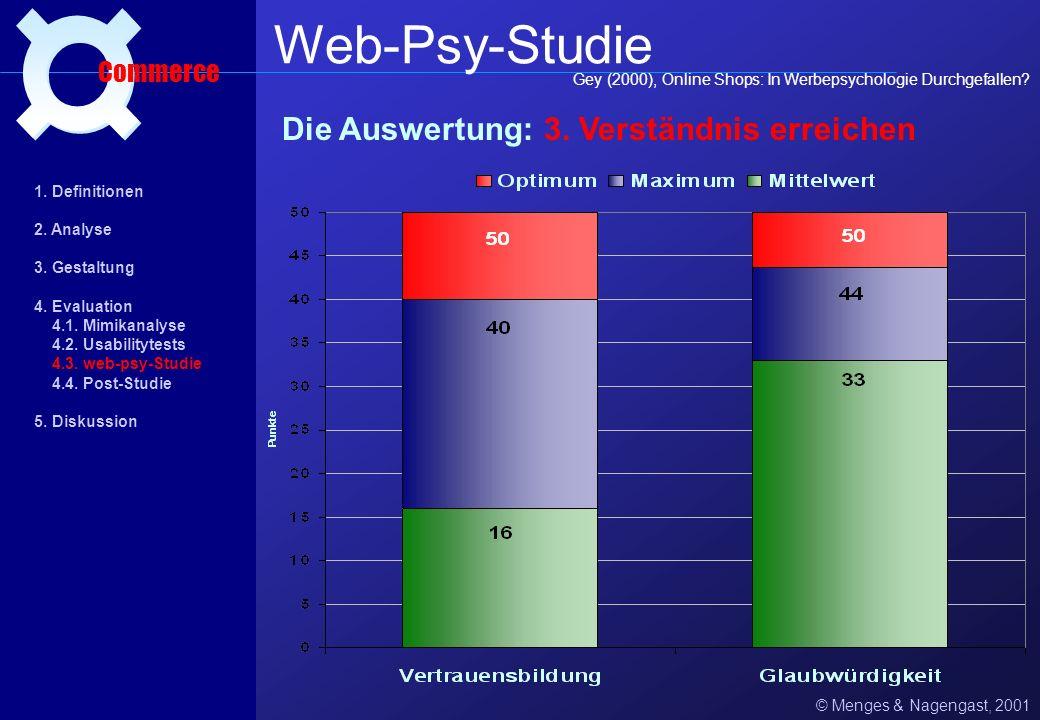 Web-Psy-Studie ¤ Die Auswertung: 3. Verständnis erreichen Commerce