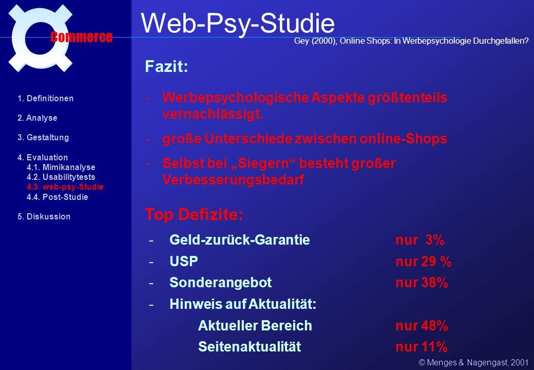 Web-Psy-Studie ¤ Fazit: Top Defizite: Commerce