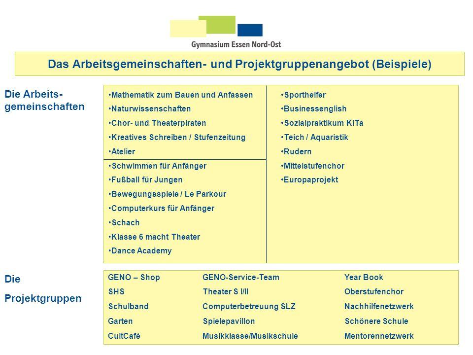 Das Arbeitsgemeinschaften- und Projektgruppenangebot (Beispiele)