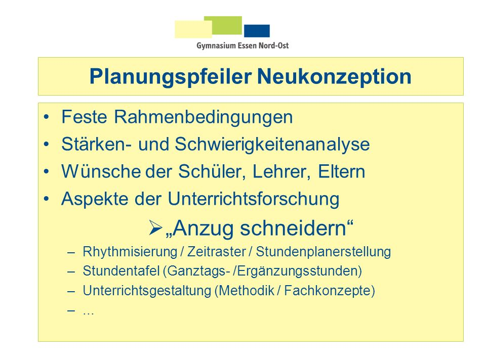 Planungspfeiler Neukonzeption