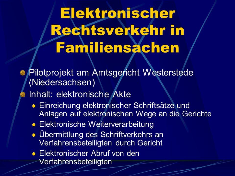 Elektronischer Rechtsverkehr in Familiensachen